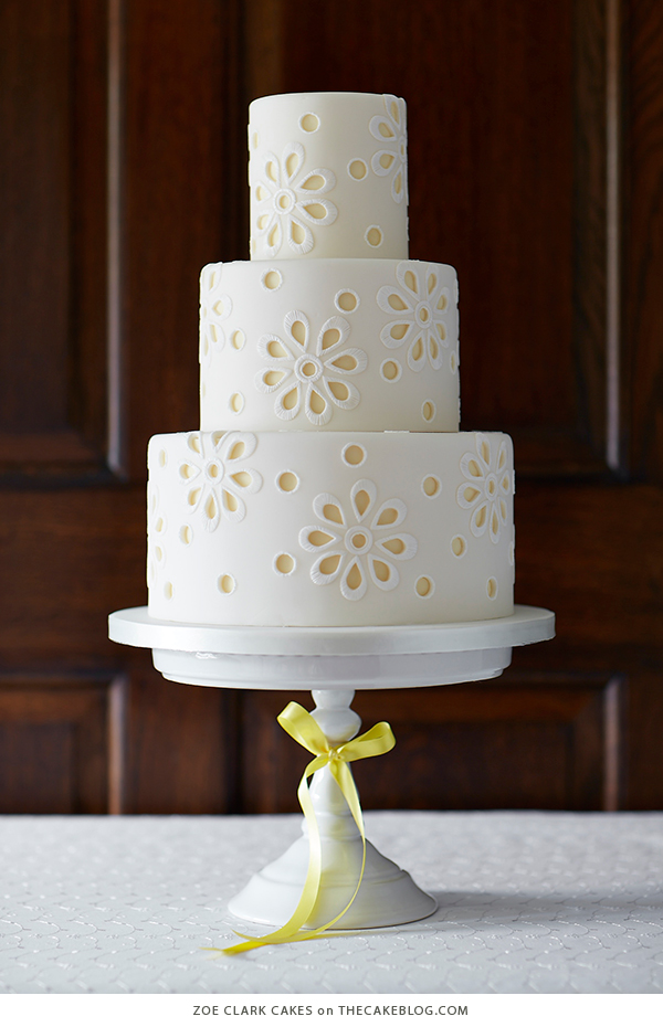 10 Yellow Wedding Cakes | including this design by Zoe Clark Cakes | on TheCakeBlog.com