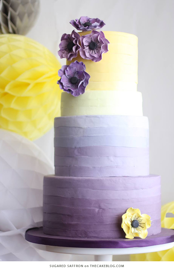 10 Yellow Wedding Cakes | including this design by Sugared Saffron | on TheCakeBlog.com