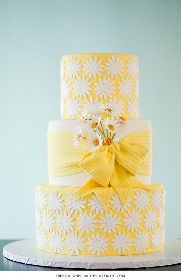 10 Yellow Wedding Cakes | including this design by Erin Gardner | on TheCakeBlog.com
