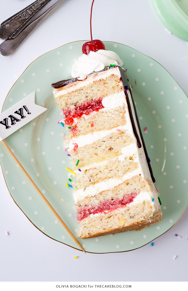 Banana Split Cake, a layer cake recipe inspired by the ice cream dessert | by Olivia Bogacki for TheCakeBlog.com