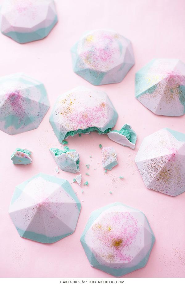 Cake Gems - how to make gem-shaped chocolate truffles filled with cake | by Cakegirls for TheCakeBlog.com