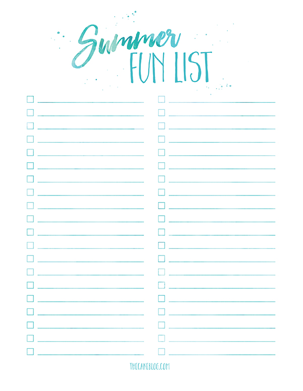 Summer Fun List - free printable to create your own summer bucket list | TheCakeBlog.com