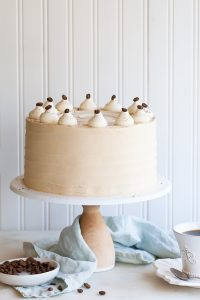 Caramel Cappuccino Cake - espresso cake with hints of brown sugar paired with caramel buttercream frosting | by Tessa Huff for TheCakeBlog.com