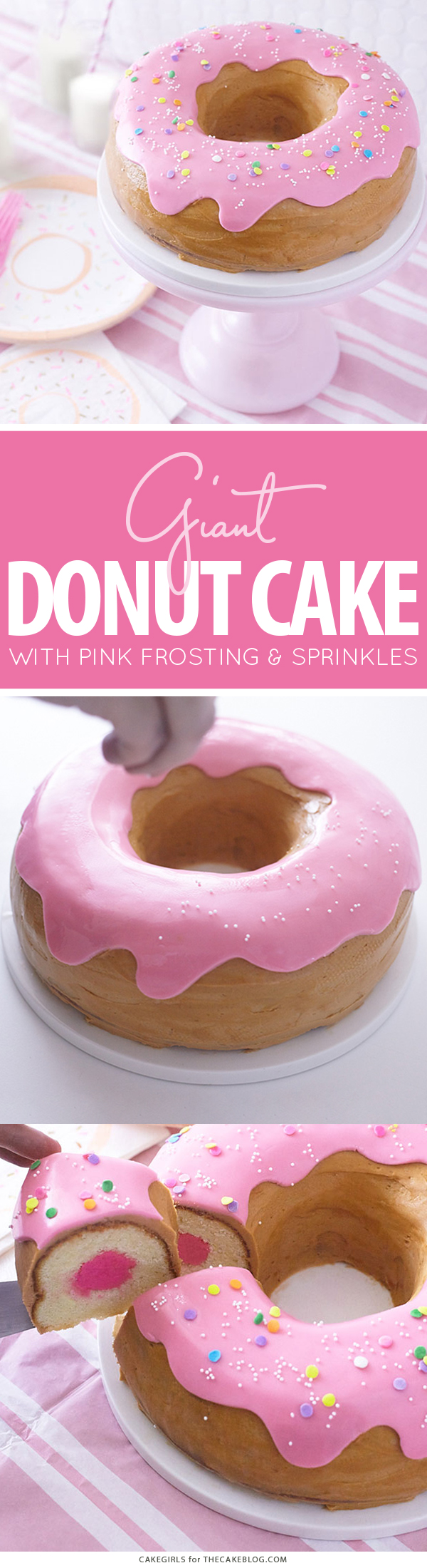 Giant Donut Cake! Learn how to make this adorable, sprinkle-coated, giant donut cake with a simple step-by-step tutorial | by Cakegirls for TheCakeBlog.com