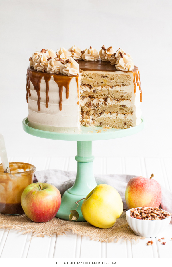 Apple Toffee Crunch Cake - fresh apple cake with crunchy pecans, cinnamon buttercream and a toffee sauce drip | by Tessa Huff for TheCakeBlog.com