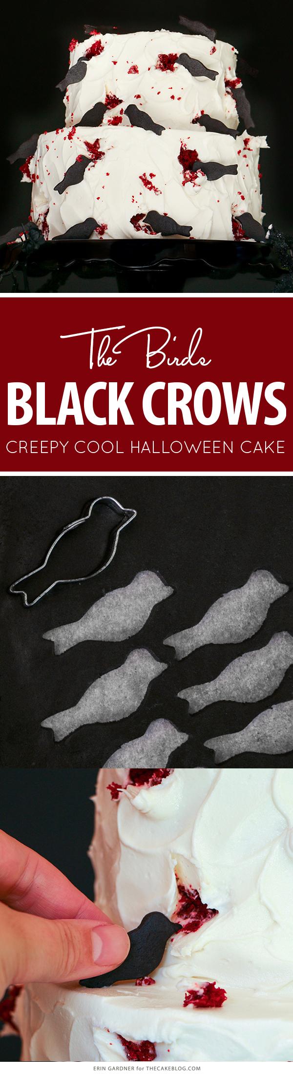 """The Birds"" Black Crow Halloween Cake | by Erin Gardner for TheCakeBlog.com"