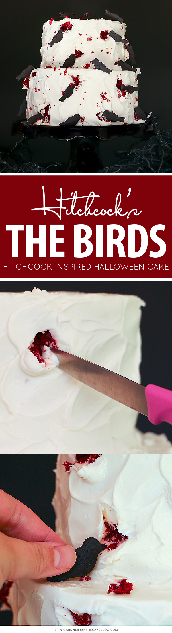 """The Birds"" Hitchcock Inspired Bird Attack Cake - super easy and totally creepy for Halloween 