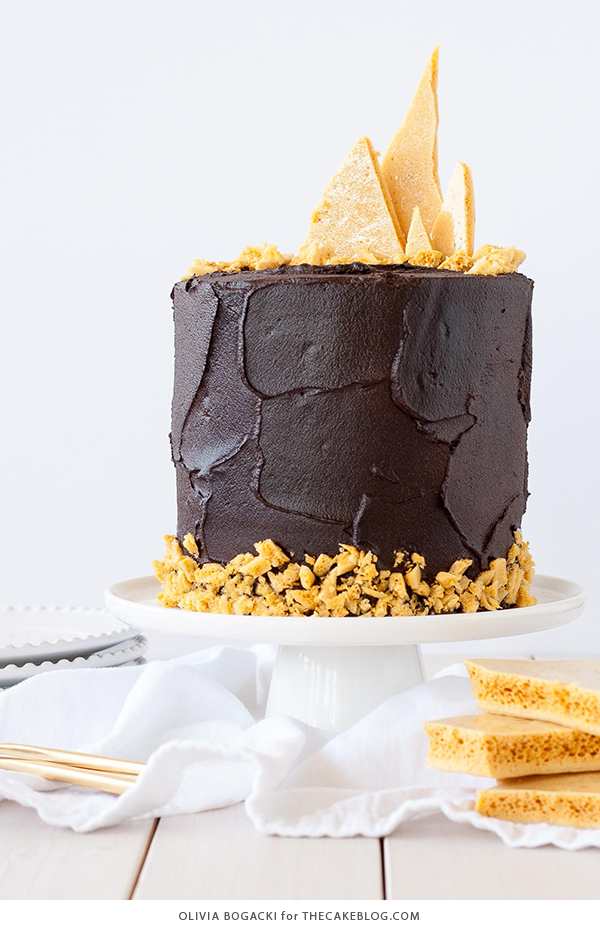 Dark Chocolate Honeycomb Cake - a rich chocolate layer cake recipe with ultra dark, fudgy frosting and homemade honeycomb | by Olivia Bogacki for TheCakeBlog.com