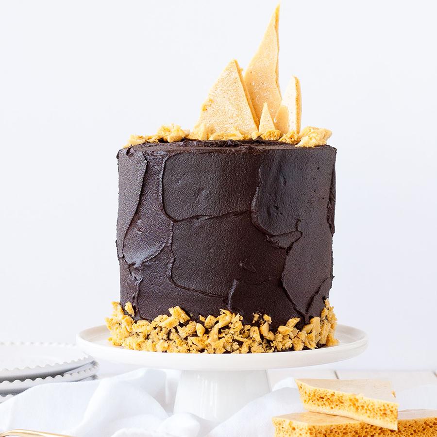 Dark Chocolate Honeycomb Cake