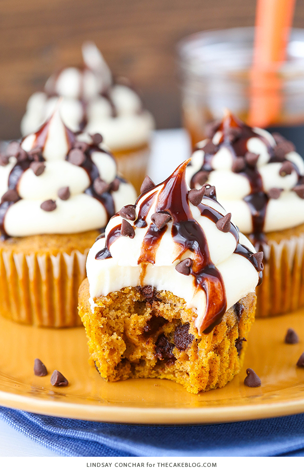Pumpkin Chocolate Chip Cupcakes - pumpkin spice cupcakes studded with chocolate chips, topped with cream cheese frosting and chocolate sauce | by Lindsay Conchar for TheCakeBlog.com
