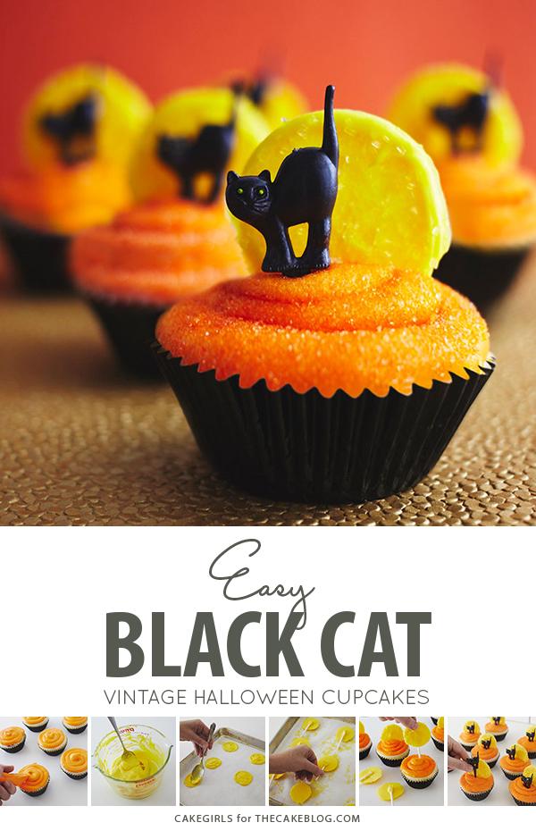 Black Cat Halloween Cupcakes | by Cakegirls for TheCakeBlog.com