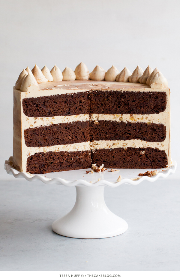 Chocolate Bourbon Pecan Cake | by Tessa Huff for TheCakeBlog.com