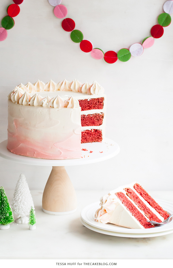 Peppermint Red Velvet Cake - bright red cake layered with white ...