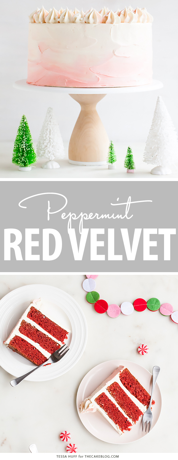 Peppermint Red Velvet Cake - bright red cake layered with white chocolate peppermint buttercream | by Tessa Huff for TheCakeBlog.com