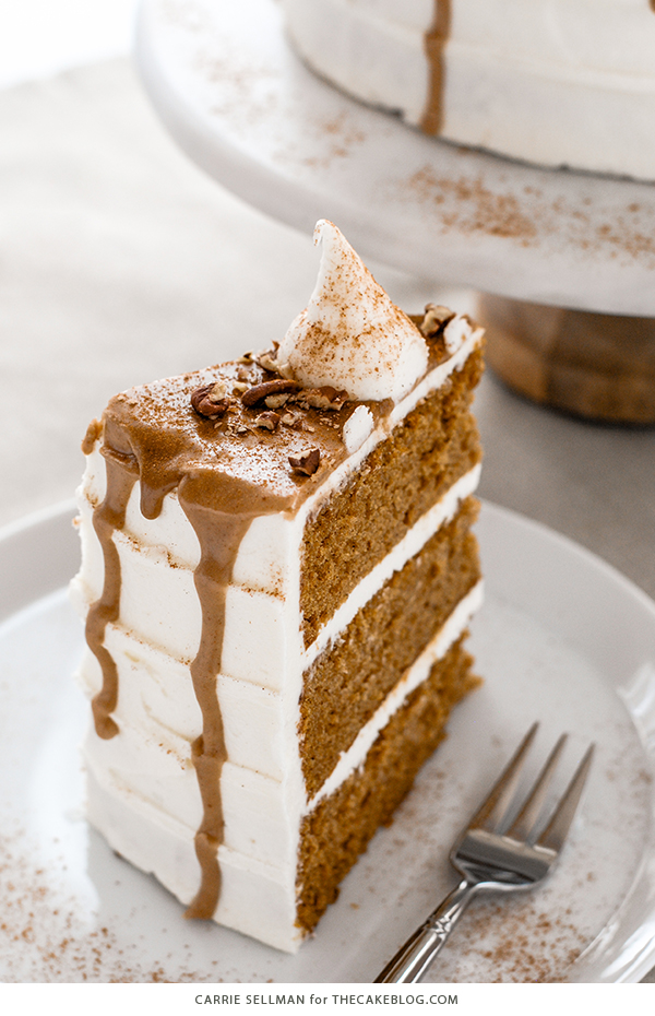 Sweet Potato Cake with marshmallow frosting, drippy maple glaze, chopped pecans and cinnamon | by Carrie Sellman for TheCakeBlog.com
