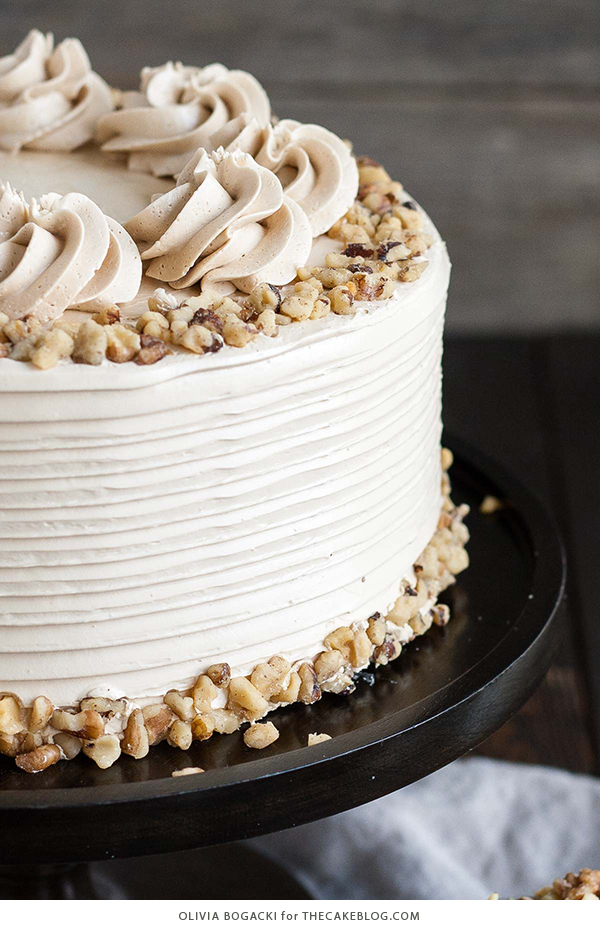 Walnut Cake with Brown Sugar Buttercream | by Olivia Bogacki for TheCakeBlog.com