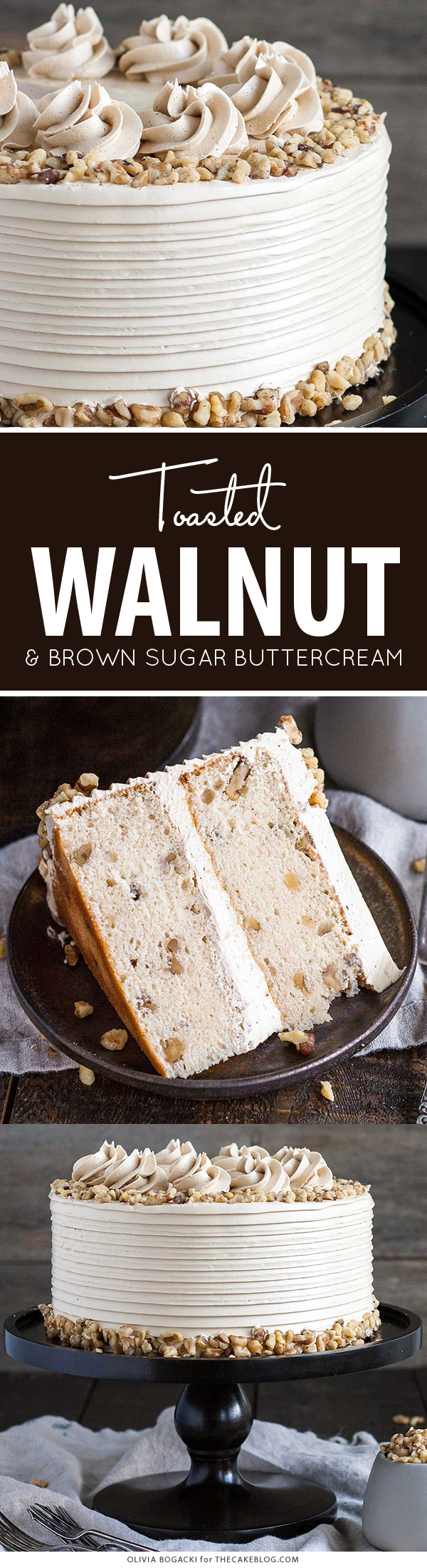 Walnut Cake with Brown Sugar Buttercream | by Olivia Bogacki for TheCakeBlog.com
