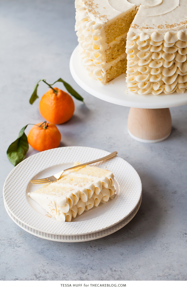 Champagne Mimosa Cake - tender, orange sponge cake smothered with silky champagne buttercream | by Tessa Huff for TheCakeBlog.com