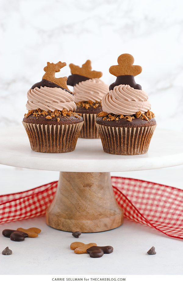 Chocolate Gingerbread Cupcakes | by Carrie Sellman for TheCakeBlog.com