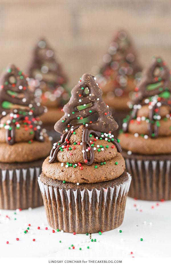 Chocolate Pretzel Cupcakes - salty sweet holiday cupcake   Lindsay Conchar for TheCakeBlog.com