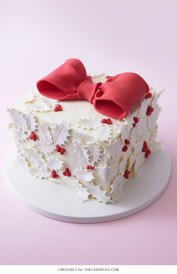 Holly gift box cake holly gift box cake learn how to make this festive gift box cake that looks negle Image collections