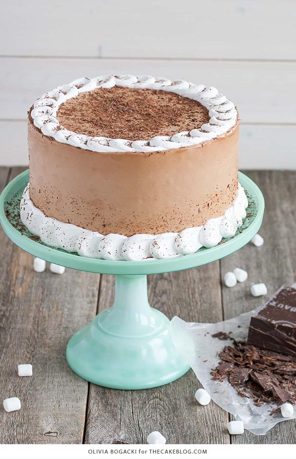 Hot Chocolate Cake with Homemade Marshmallow Fluff | by Olivia Bogacki for TheCakeBlog.com
