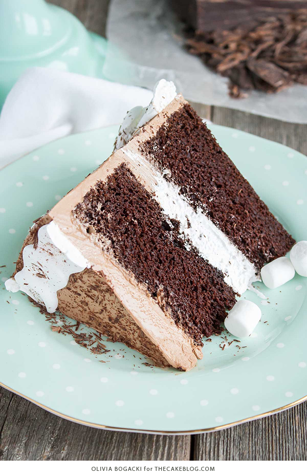 Hot Chocolate Cake with Homemade Marshmallow Fluff | by Olivia Bogacki for TheCakeBlog.com