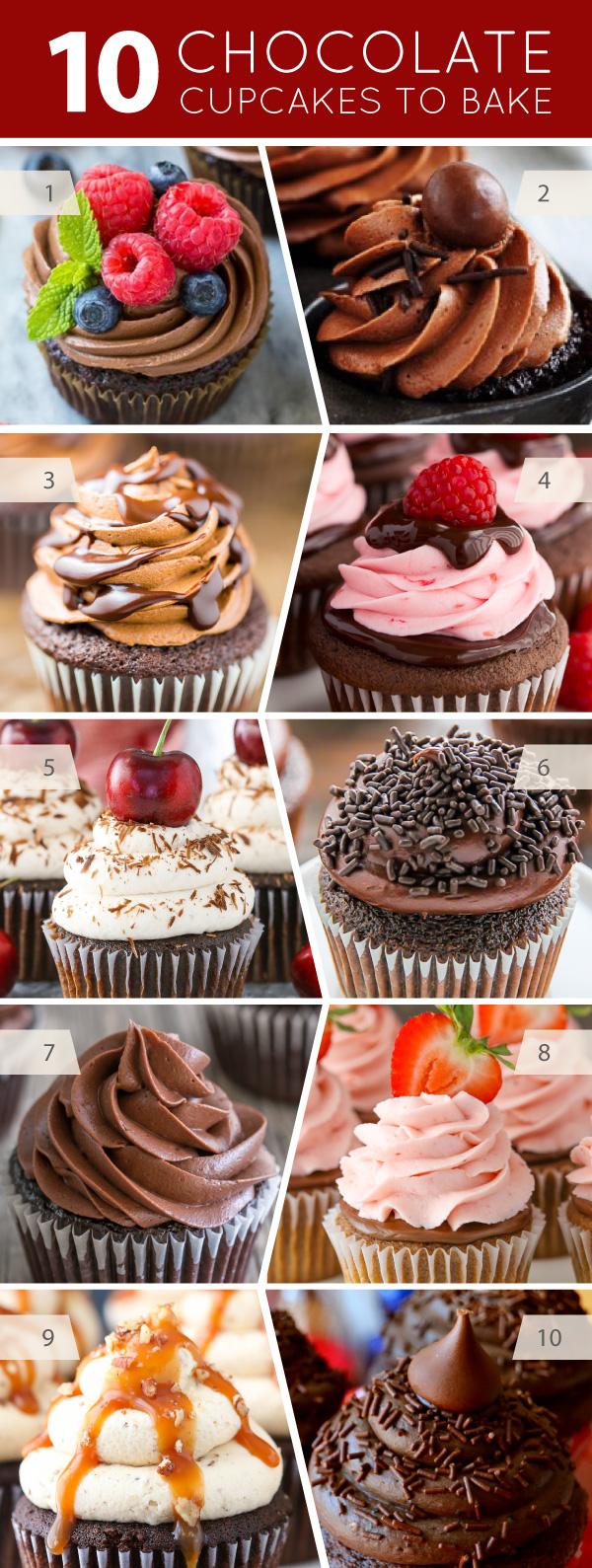 10 Chocolate Cupcakes to Bake - cupcake recipes for serious chocolate lovers | on TheCakeBlog.com