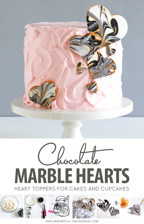 Marble Chocolate Hearts - how to make marbled heart toppers for cakes and cupcakes using chocolate coating and cookie cutters | by Erin Gardner for TheCakeBlog.com