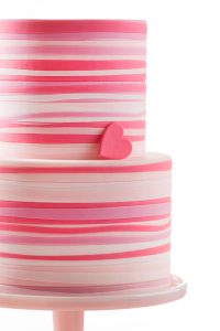 Pink Striped Heart Cake | by Allison Kelleher for TheCakeBlog.com