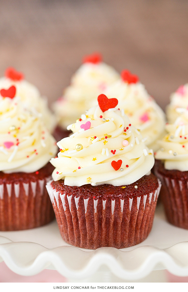 Red Velvet Cupcakes - super easy to make and stay moist for days, with a classic red velvet flavor and cream cheese frosting | Lindsay Conchar for TheCakeBlog.com