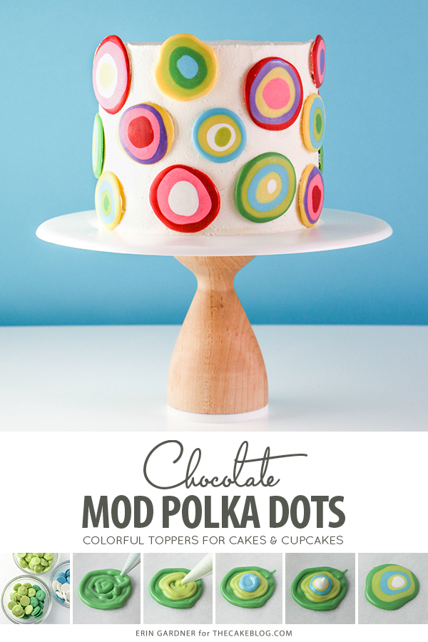 Mod Polka Dot Cake - how to make colorful polka dot toppers for cakes and cupcakes using chocolate coating | Erin Gardner for TheCakeBlog.com