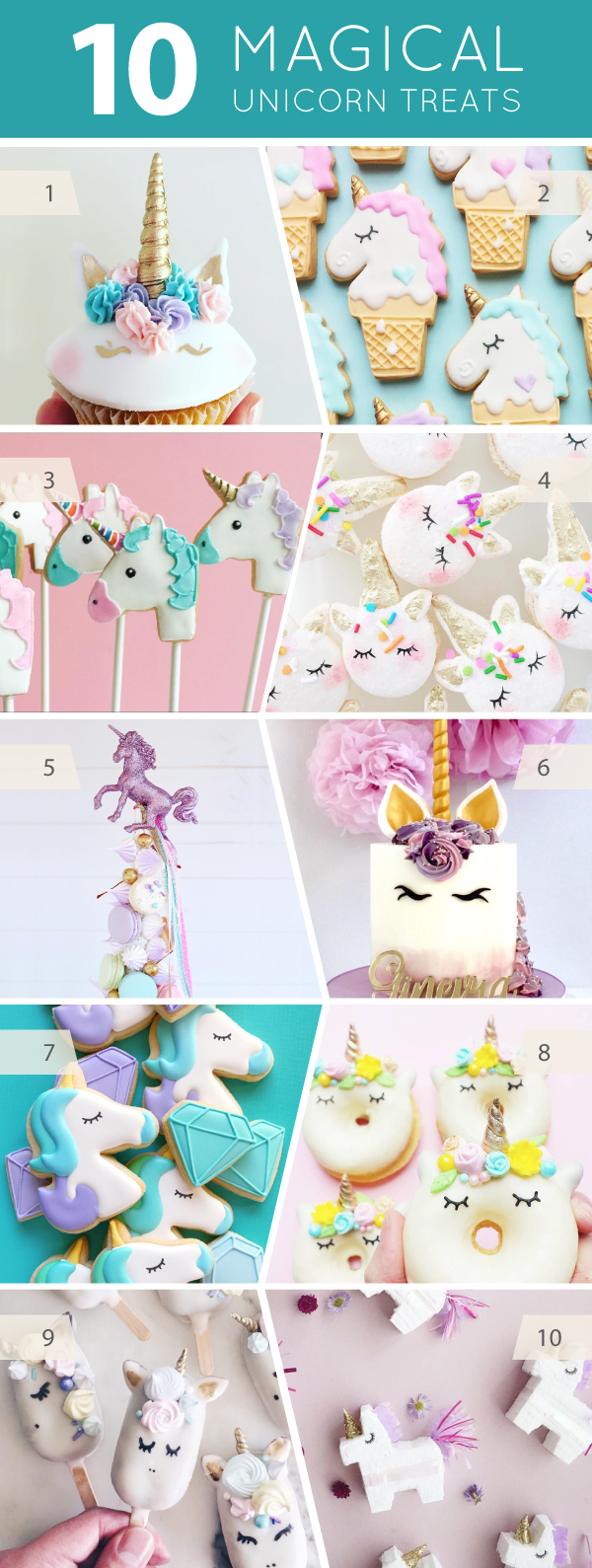 10 Magical Unicorn Treats - cakes, cupcakes, cookies and cake pops for unicorn lovers | on TheCakeBlog.com