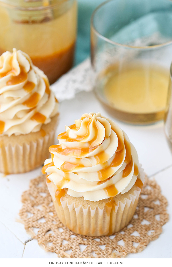 Caramel Bourbon Vanilla Cupcakes - a brown sugar bourbon cupcake topped with caramel vanilla frosting for a unique combination that is full of flavor!