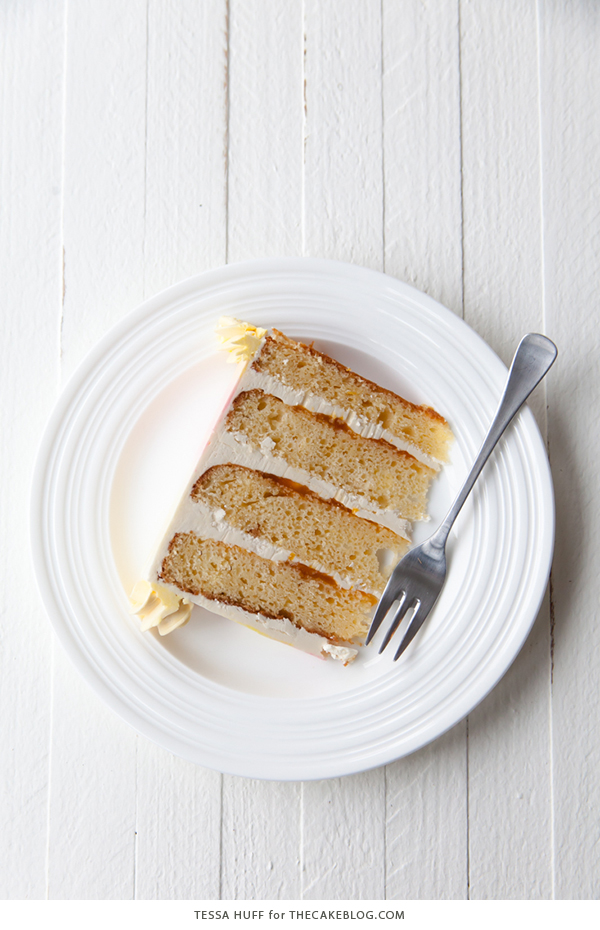 Lemon Honey Apricot Cake - lemon cake paired with honey buttercream and apricot jam | by Tessa Huff for TheCakeBlog.com