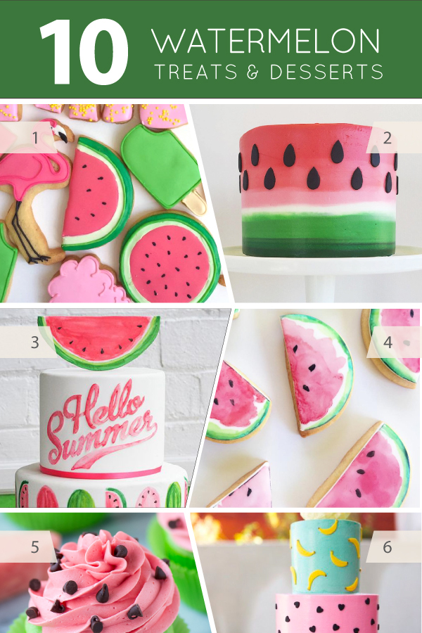 10 Watermelon Treats - cakes, cupcakes, cookies, macarons and desserts for watermelon lovers | on TheCakeBlog.com