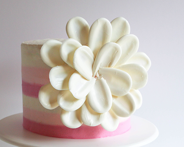White Chocolate Flower Cake – how to make a side chocolate flower cake, using candy melts and everyday tools | by Erin Gardner for TheCakeBlog.com