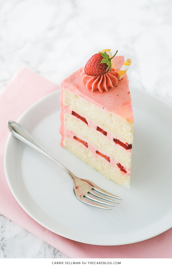 Strawberry Lemonade Cake - tender lemon cake paired with fresh strawberry buttercream | by Carrie Sellman for TheCakeBlog.com