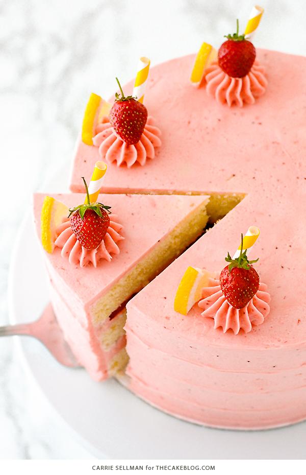 Strawberry Lemonade Cake - tender lemon cake paired with fresh strawberry buttercream   by Carrie Sellman for TheCakeBlog.com