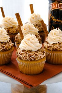 Bailey's Pumpkin Spice Cupcakes | by Carrie Sellman for TheCakeBlog.com