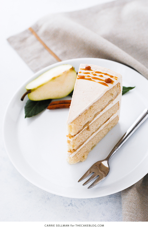 Salted Caramel Pear Cake - fresh pear cake with cinnamon buttercream, salted caramel and homemade caramel dipped pears | Carrie Sellman for TheCakeBlog.com