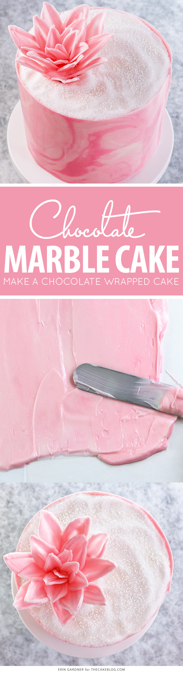 Marbled Chocolate Cake - how to wrap a cake with marbled chocolate | by Erin Gardner for TheCakeBlog.com