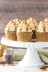 Caramel Mocha Cupcakes - a coffee flavored cupcake, caramel frosting and caramel drizzle   by Lindsay Conchar for TheCakeBlog.com