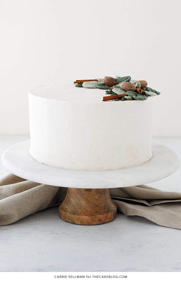 Eggnog Cake - a rich eggnog cake with hints of cinnamon and nutmeg, paired with a creamy eggnog buttercream | by Carrie Sellman for TheCakeBlog.com