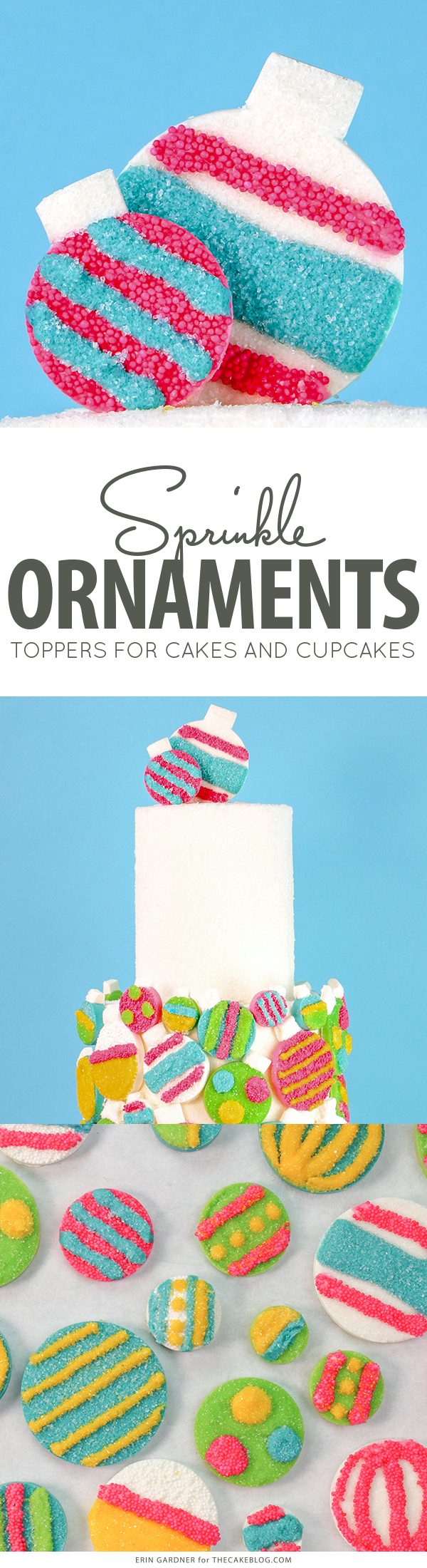 Sprinkle Ornament Cake – how to make sparkling ornaments for cakes and cupcakes using chocolate, cookie cutters and sprinkles | by Erin Gardner for TheCakeBlog.com
