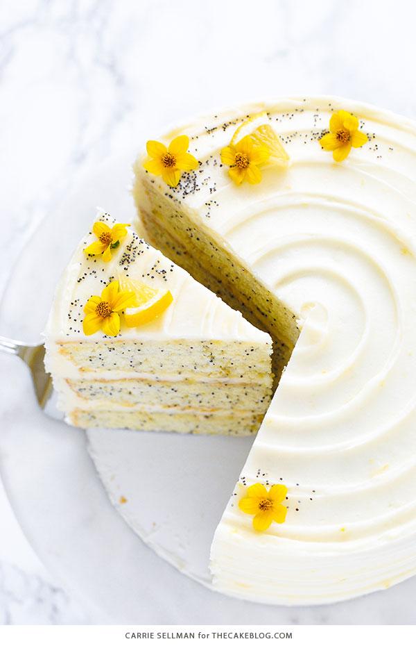 Lemon Poppy Seed Cake | by Carrie Sellman for TheCakeBlog.com #cake #lemon #easter #easterdinnerideas
