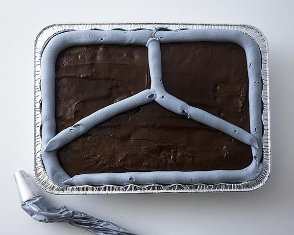 TV Dinner Cake - an easy and fun sheet cake for Father's Day and April Fools Day | by Cakegirls for TheCakeBlog.com