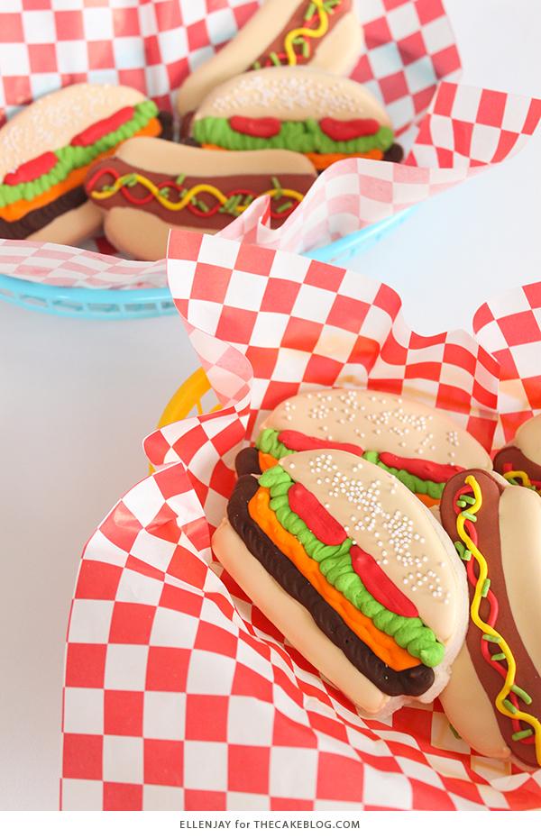 Hamburger & Hot Dog Sugar Cookies   by ellenJAY for TheCakeBlog.com