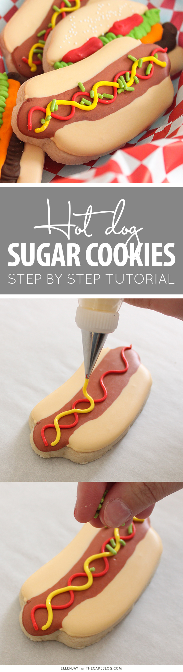 Hot Dog Sugar Cookies | by ellenJAY for TheCakeBlog.com
