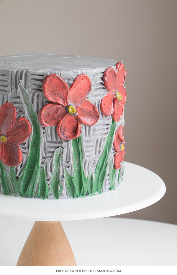 Buttercream Palette Knife Painted Cake - how to paint a cake using buttercream frosting, a spatula and an oil painting technique | by Erin Gardner for TheCakeBlog.com
